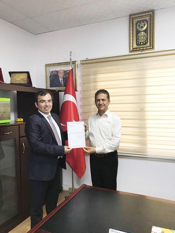 Vergi Dairesi Başkanı Tunalı'dan YZO Başkanı Doğan'a Teşekkür Belgesi