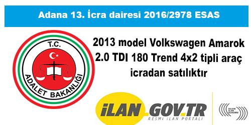 2013 model Volkswagen Amarok 2.0 TDI 180 Trend 4x2 tipli araç icradan satılıktır